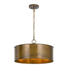 60W Rochefort Metal 3 Light Chandelier, Distress Gold Finish
