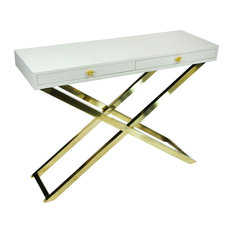 Wood And Metal Folding Console Table With 2 Drawers White And Gold