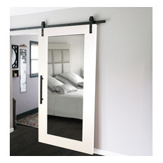 "Mirrored Sliding Barn Door With Mirror Insert + Hardware Kit, 38""x84"", 1 Mirror/"