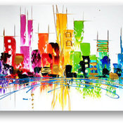 Oil Painting Abstract Modern Art on Canvas Cityscape Color City, 30x60 Inches