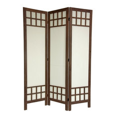 Oriental Furniture Traditional 6 Ft Tall Burnt Brown Wood Privacy Screen 3 Panels