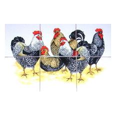 Chicken Rooster Kiln Fired Ceramic Tile Mural Black Speckled, 6-Piece Set