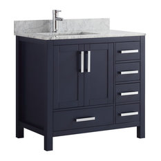 "Jacques 36"" Single Vanity With White Marble Top, No Mirror, Navy Blue"