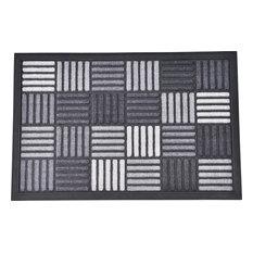 Evideco Sheltered Door Mat, Caroll Nylon Rubber Checkered Rug Gray