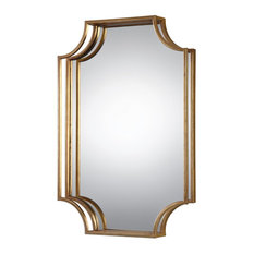 "Open Gold 30"" Metal Wall Mirror, Vanity Curved Sculpted"