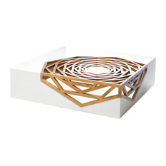 Now's Home - Now's Home Hanako Sculpted Gmelina and MDF Coffee Table - Coffee Tables