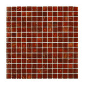 "12""x12"" Cuivre Translucent Glass Mosaic Tiles, Set of 10, Geghis Red"