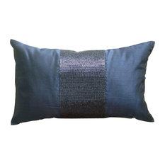 "Blue Metallic Beaded 12""x20"" Silk Lumbar Pillow Cover, Striking Navy"