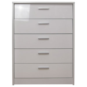 Khabat 5-Drawer Chest, White and White Oak