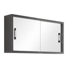 Giava Large Mirror Cabinet With Sliding Doors, Grey Pine
