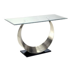 Furniture of America Suse Glass Top Console Table in Satin Plated