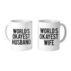 """World's Okayest Wife And Husband Couple"" 11oz Coffee Mug, Set Of 2"