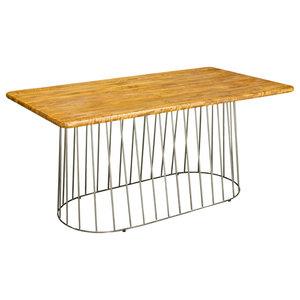 Birdcage Rectangular Mango Wood Dining Table, Straight Base