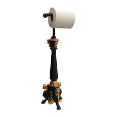 victorian hickory manor standing royal toilet paper holder gold leaf and black toilet paper