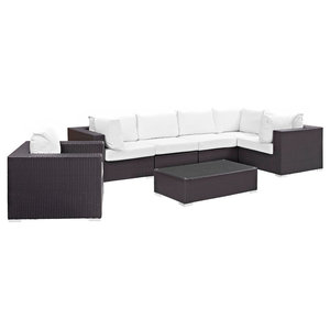 Modway Convene 7 Piece Patio Sofa Set in Espresso and White