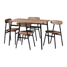 Wholesale Interiors - Rustic and Industrial Brown Wood Finished Matte Black Frame 5-Piece Dining Set - Dining Sets