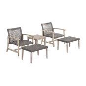 Savannah Outdoor 5-Piece Wicker Club Chair, Ottoman Set, Mixed Black, Light Gray