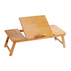 Foldable Laptop Desk Stand, Natural Bamboo Wood, Contemporary Design