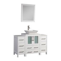 """Vanity Art Vanity Set With Vessel Sink, White, 48"""", Standard Mirror"""