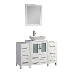 Vanity Art Vanity Set With Vessel Sink, White, 48