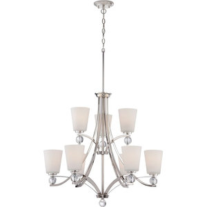 Nuvo 9-Light Incandescent Connie Chandelier Light Fixture, Polished Nickel