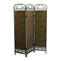 Ore International 3 Panel Room Divider Antique Gold Screens And Room Dividers