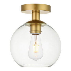 1-Light Flush Mount With Clear Glass, Brass and Clear