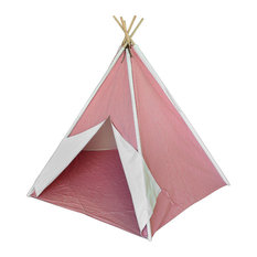 Children`s Canvas Teepee Tent Pink and White Pinstripes 72 In.