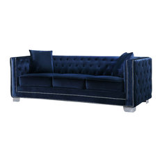 Broadway Velvet Sofa, Navy   Sofas
