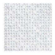 "Bliss Norwegian Ice Stone and Glass Square Mosaic, Chip Size: 5/8""x5/8"", 12""x12"""