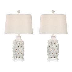 Seahaven Shell Coastal Table Lamp, Set Of 2, Antique White