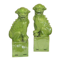 Green Sitting Foo Dog Handmade Porcelain Statue Pair, Chinese Guardian Bookend,