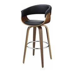 Coaster Fine Furniture   Modern Unique Style Barstool Bar Stool Upholstered  Seat Curve Arm Back Wood