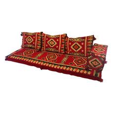 Riyadh 5-Piece Floor Seating Set, Red, Purple or Sahara Off-White, Red, Foam Fil