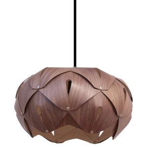 Cynara Wood Lampshade, Walnut and Sycamore, Small, Classic
