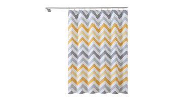 Corso White Chevron 100% Cotton Fabric Shower Curtain