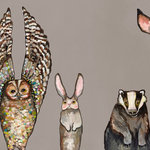 """GreenBox Art - """"Forest Animals"""" Stretched Canvas Art by Eli Halpin, Taupe, 24""""x12"""" - Forest friends have never looked so cute! Warm up your walls with adorable animal wall art by Eli Halpin."""