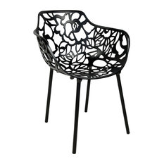 Leisuremod Modern Devon Aluminum Chair With Arm, Black
