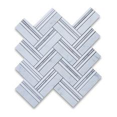 "11.25""x12.25"" Carrara White Herringbone Mosaic, Thassos Lines Honed"