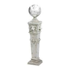 Design Toscano - Lion Head Gazing Globe Garden Pillar Statue - Garden Statues and Yard Art