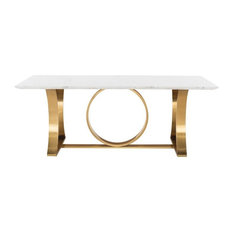 Kitty Dining Table Marble Top White Marble Top Brushed Gold