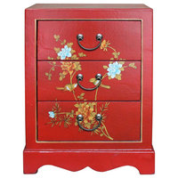Chinese Red Vinyl Flower Birds 3 Drawers End Table Nightstand Hcs4740