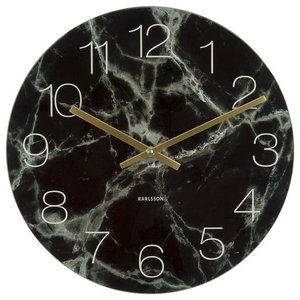 Karlsson Glass Marble Clock, Black
