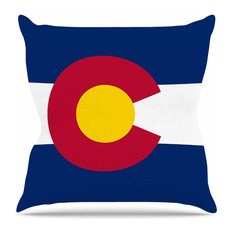 """Bruce Stanfield """"Flag of Colorado"""" Blue Red Outdoor Throw Pillow"""