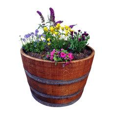 Half Wine Barrel Planter   Outdoor Pots And Planters