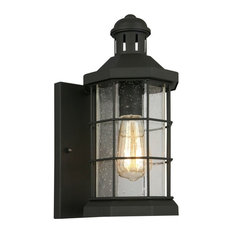 San Mateo Creek 1-Light Outdoor Wall Lantern, Matte Black, Clear Seeded Glass