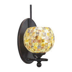 Toltec Company 591-DG-407 One Light Dark Granite Seashell Glass Bathroom Sconce