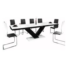 Victoria Extendable Dining Table , White/Black