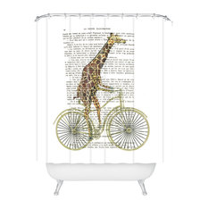 Deny Designs Coco De Paris Giraffe On Bicycle Shower Curtain