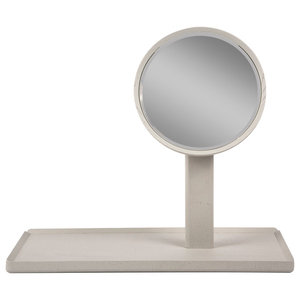 Mirror With Tray, Grey Rectangle